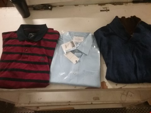 Lot 1443 LOT OF 4 BOXES CONTAINING APPROXIMATELY 100 ASSORTED CLOTHING ITEMS TO INCLUDE PARADIGM PURE COTTON SHIRT, RAGING BULL POLO T-SHIRT AND WILLIAMS & BROWN BLUE JUMPER
