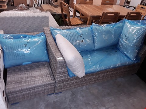Lot 403 RATTAN LOOK GARDEN SEATING SET COMPRISING OF 2-SEATER, 2X ARMLESS CHAIRS AND CUSHIONS
