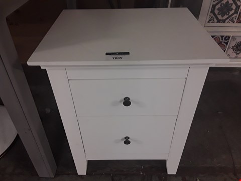 Lot 7009 DESIGNER WHITE TWO-DRAWER BEDSIDE