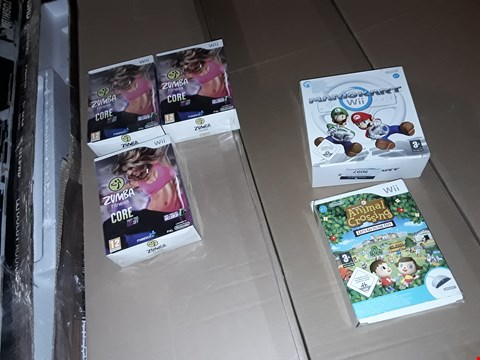 Lot 9097 5 NINTENDO WII PRODUCTS TO INCLUDE,  MARIO KART AND ZUMBA FITNESS CORE ETC