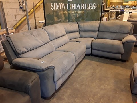 Lot 9071 DESIGNER TWO TONE GREY FABRIC MANUAL RECLINING CORNER GROUP  WITH CONTRAST STITCHING
