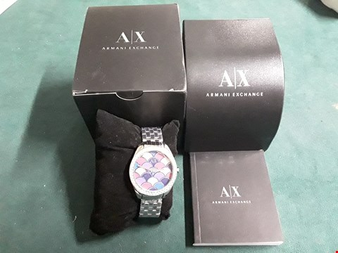 Lot 57 ARMANI EXCHANGE SILVER MOSAIC DIAL AND STAINLESS STEEL BRACELET LADIES WATCH RRP £239