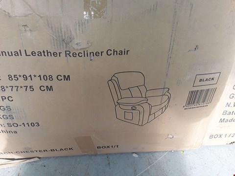 Lot 51 BOXED DESIGNER CHESTER BLACK MANUAL RECLINING EASY CHAIR RRP £420.00
