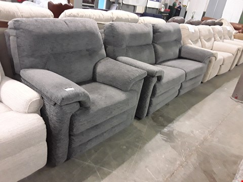 Lot 12507 QUALITY BRITISH MADE, HARDWOOD FRAMED GREY FABRIC POWER RECLINING 3 SEATER SOFA AND ARMCHAIR