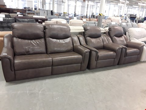 Lot 12502 QUALITY BRITISH MADE, HARDWOOD FRAMED DARK BROWN LEATHER 3 SEATER SOFA AND TWO ARMCHAIRS