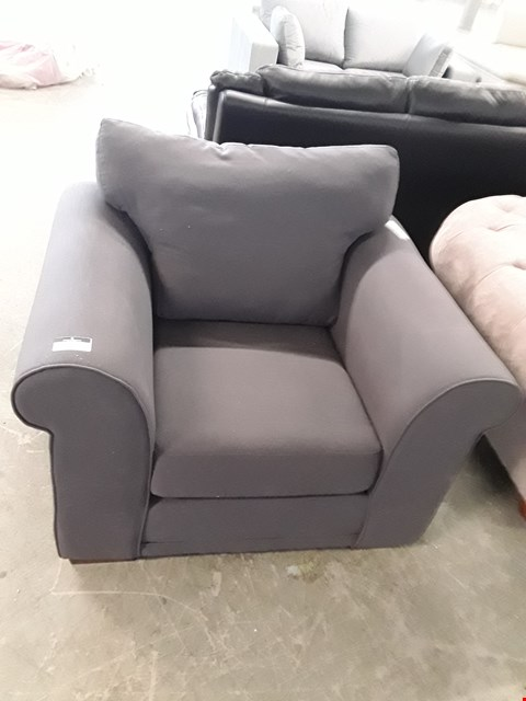 Lot 44 DESIGNER GREY FABRIC EASY CHAIR