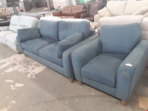 Lot 15 QUALITY BRITISH DESIGNER OCEAN BLUE FABRIC BRADWELL 3 SEATER SOFA AND ARMCHAIR