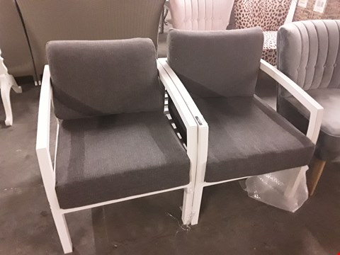Lot 7096 DESIGNER PAIR OF WHITE METAL FRAMED GARDEN CHSIRS WITH GREY UPHOLSTERED CUSHIONS