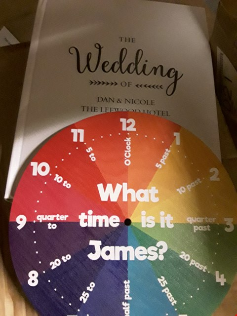 Lot 943 LOT OF  3 ITEMS TO INCLUDE PERSONALISED RUSTIC WEDDING TRAD ,WOODEN TELL THE TIME BOARD & A PERSONALISED  SLATE SHED SIGN