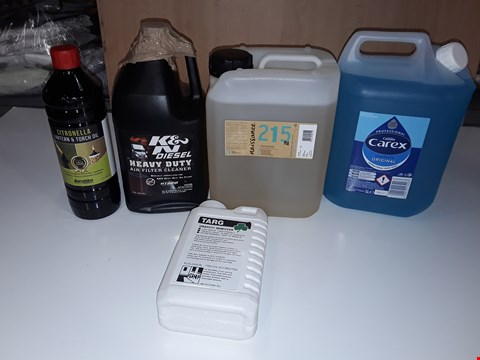 Lot 199 LOT OF 5 ASSORTED LIQUID ITEMS TO INCLUDE, 5L CAREX ANTIBACTERIAL HANDWASH, TARG GRAFFITI REMOVER, HEAVY DUTY AIR FILTER CLEANER