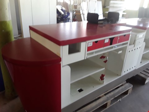 Lot 2003 TILL STATION WITH CASH DRAWER , STORAGE SHELVES/DRAWERS , END TABLE AND TILL BRACKET