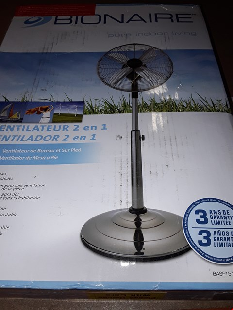 Lot 316 BIONAIRE PURE INDOOR LIVING 2 IN 1 FAN  RRP £100