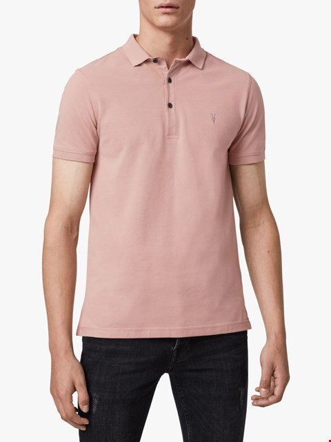 Lot 3141 BRAND NEW ALLSAINTS MENS REFORM SS POLO SUNSET PINK SIZE S