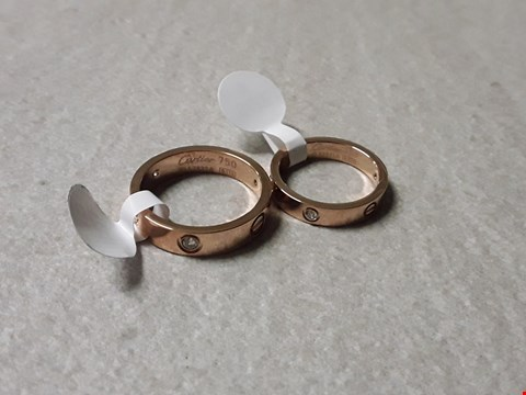 Lot 6021 LOT OF 2 CARTIER STYLE GOLD LOOK RINGS IN BOX