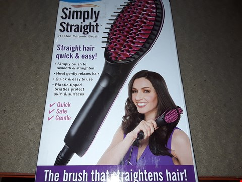 Lot 2107 BOX OF APPROXIMATELY 42 BRAND NEW SIMPLY STRAIGHT HEATED CERAMIC BRUSH