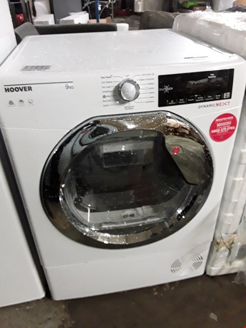 Lot 10050 HOOVER DYNAMIC NEXT DXC9TCE 9KG LOAD, AQUAVISION CONDENSER TUMBLE DRYER WITH ONE TOUCH - WHITE/CHROME
