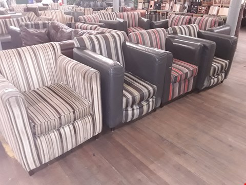 Lot 64 4 X ASSORTED STRIPED DESIGN FABRIC ARMCHAIRS