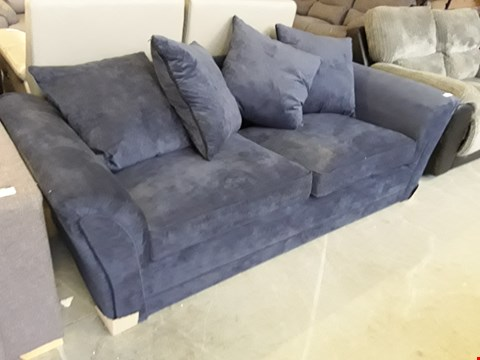 Lot 10 DESIGNER NAVY BLUE FABRIC DURY 3 SEATER SOFA WITH SCATTER BACK CUSHIONS  RRP £499.00