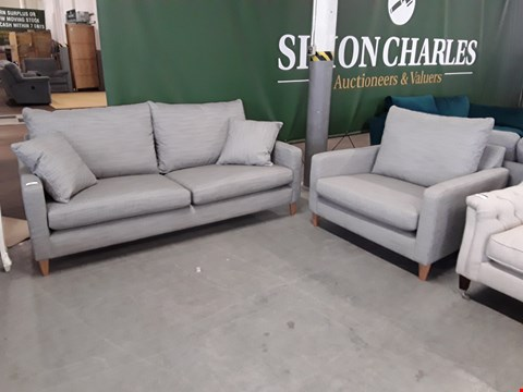 Lot 13 QUALITY BRITISH DESIGNER LIGHT GREY WEAVE BAILEY 3 SEATER SOFA AND SNUGGLE CHAIR