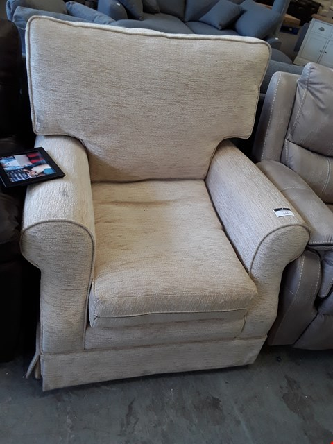 Lot 79 DESIGNER CONISTON BEIGE FABRIC ARMCHAIR  RRP £429.99