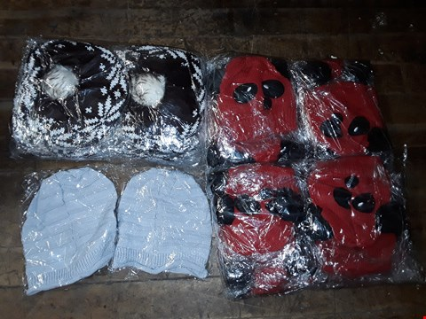 Lot 1085 BOX OF APPROXIMATELY 70 ASSORTED BRAND NEW HATS TO INCLUDE GREY KNITTED BEANIE, RED KNITTED PANDA HAT