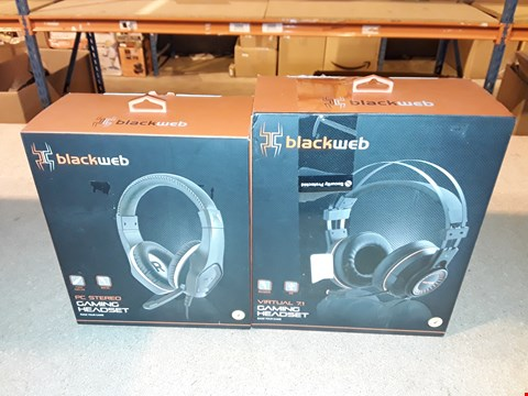 Lot 2110 LOT OF 2 BLACKWEB GAMING HEADSET INCLUDES PC STEREO AND VIRTUAL 7.1