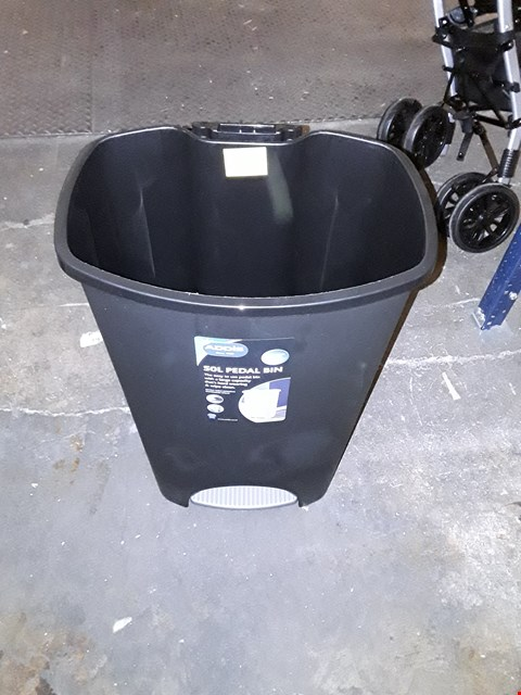 Lot 1512 ADDIS 50 LITRE PEDAL BIN, BLACK RRP £20