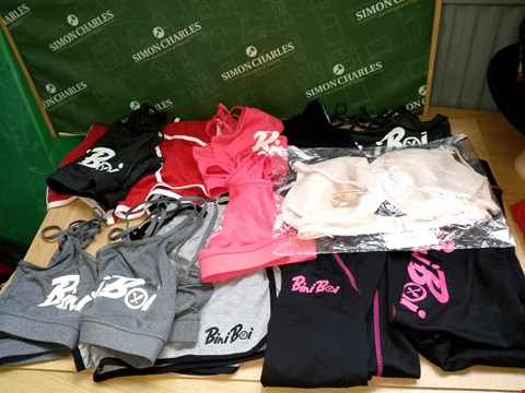 Lot 4137 BOX OF APPROXIMATELY 12 WOMEN'S SPORTS WEAR AND UNDERWEAR TO INCLUDE BINIBOI SPORTS BRAS,  JOGGING BOTOOMS/SHORTS AND BOUX ADVENTURE NUDE BRA 36DD