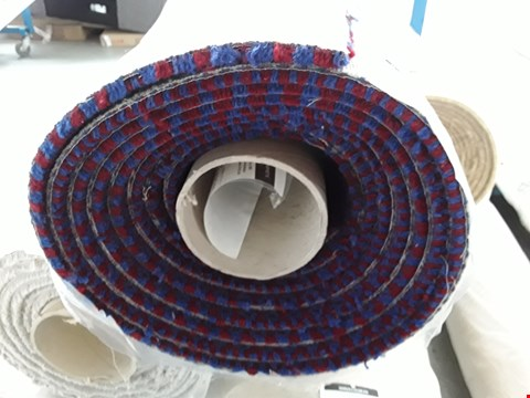Lot 2203 ROLLED VARIETY TRIALS RED/BLUE PATTERNED CARPET - MEASURES APPROXIMATELY 6 X 4M