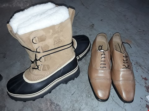Lot 347 BOX OF APPROXIMATELY 10 ASSORTED SHOES TO INCLUDE BROWN REAL LEATHER SHOES AND CARIBOU SOREL BROWN/BLACK BOOTS