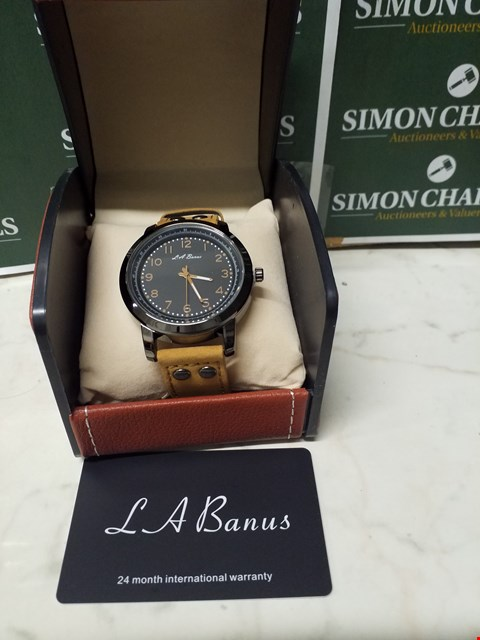 Lot 4583 L. A BANUS BLACK STAINLESS STEEL WATCH WITH BROWN SUEDE WRIST STRAP