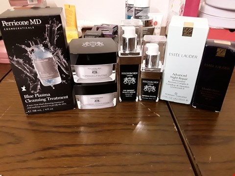 Lot 2115 BOX OF APPROXIMATELY 7 ITEMS TO INCLUDE PERRICONE MD BLUE PLASMA CLEANSING TREATMENT, HIGHBORN IMPERIAL MOISTURISER AND ESTĒE LAUDER ADVANCED NIGHT REPAIR