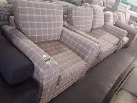 Lot 79 QUALITY BRITISH DESIGNER GREY CHECK FABRIC LINCOLN ARMCHAIR AND 2 SEATER SOFA