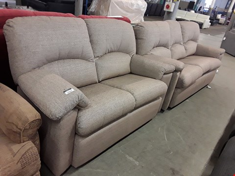 Lot 12524 QUALITY BRITISH MADE, HARDWOOD FRAMED LIGHT BROWN WEAVE 2 AND 3 SEATER SOFAS