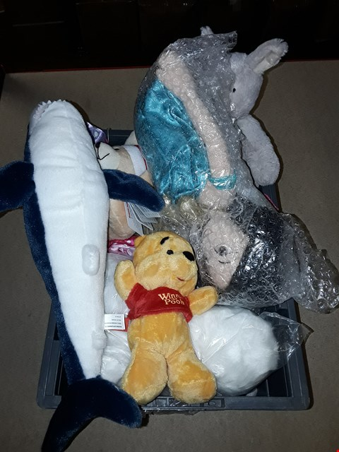 Lot 6137 BOX OF ASSORTED SOFT TOYS TO INCLUDE WINNIE THE POOH CUDDLY TOY, A BLUE SHARK SOFT TOY, MOTHER CARE KANGAROO CUDDLY TOY ETC