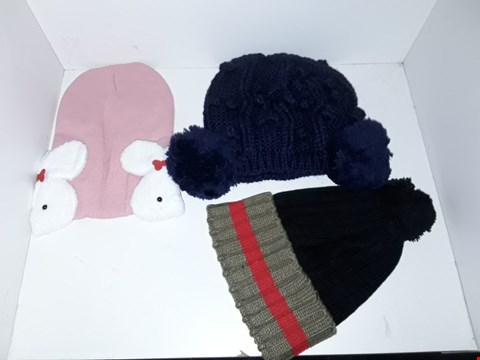 Lot 1027 BOX OF APPROXIMATELY 70 ASSORTED BRAND NEW KNIT HATS TO INCLUDE PINK WITHRABBIT DETAIL, BOBNLE HAT AND BLUE SIDE BOBBLE HAT