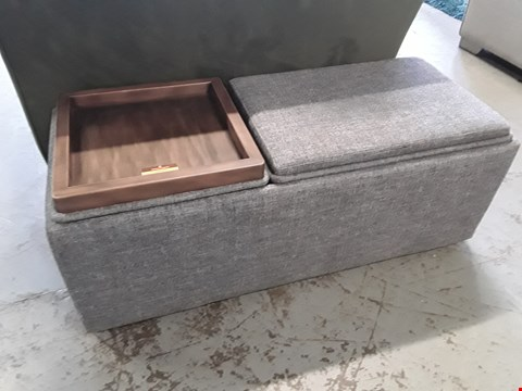 Lot 359 QUALITY BRITISH DESIGNER TAYLOR RECTANGULAR FOOTSTOOL UPHOLSTERED IN SHARK FIN FABRIC WITH PART WOOD TOP RRP £249