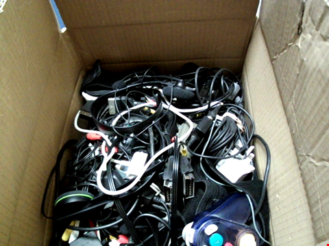Lot 15675 BOX OF ASSORTED GAMES CONTROLLERS AND CABLES ETC