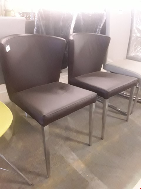 Lot 54 PAIR OF DESIGNER BROWN FAUX LEATHER ARMLESS CHAIRS ON METAL LEGS