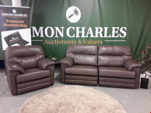 Lot 3023 QUALITY BRITISH MADE, HARDWOOD FRAMED DARK BROWN LEATHER POWER RECLINING 3 SEATER SOFA AND ARMCHAIR