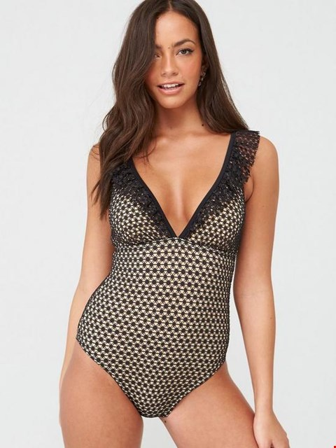 Lot 3683 BRAND NEW V BY VERY LACE FRILL SWIMSUIT - BLACK/NUDE SIZE 10