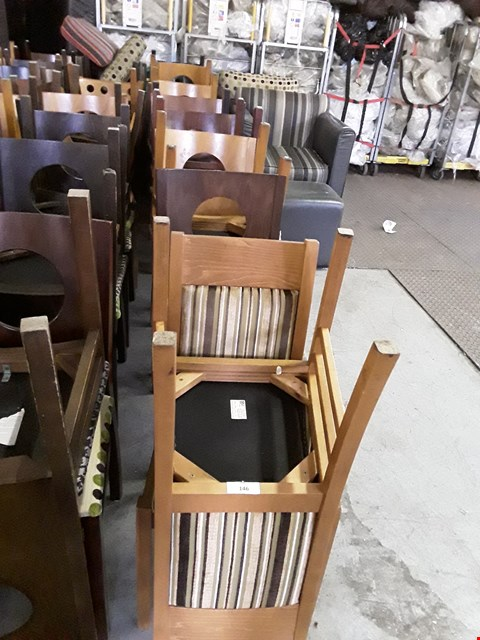 Lot 142 LOT OF APPROXIMATELY 16 ASSORTED CAFE STYLE WOODEN FRAMED DINING CHAIRS