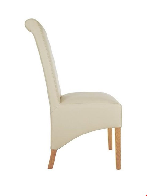 Lot 1051 BRAND NEW BOXED PAIR OF SIENNA CREAM FAUX LEATHER AND OAK-EFFECT DINING CHAIRS (1 BOX) RRP £179.00