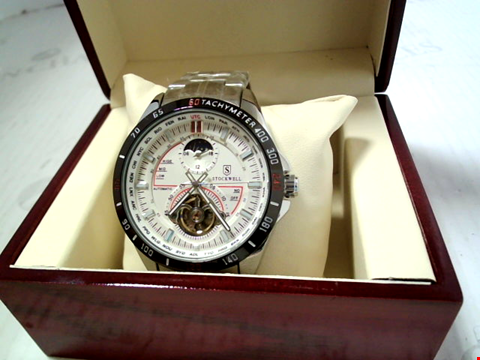 Lot 5626 DESIGNER STOCKWELL AUTOMATIC MOONPHASE DIAL STAINLESS STRAP WATCH RRP £650.00