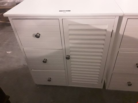 Lot 52 DESIGNER WHITE CUPBOARD WITH 3 DRAWERS & LOUVERED CUPBOARD