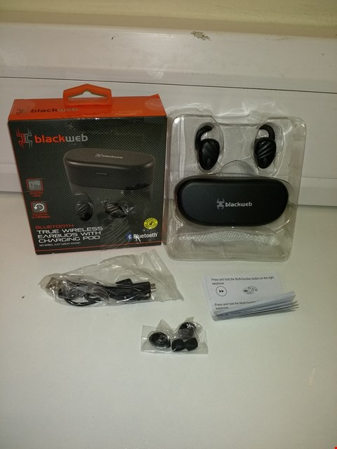 Lot 3014 BLACKWEB BLUETOOTH TRUE WIRELESS EARBUDS WITH CHARGING CASE IN BLACK