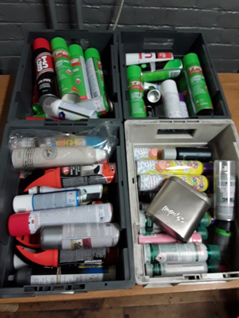 Lot 1003 FOUR TRAYS OF ASSORTED AEROSOLS, INCLUDING, SUEDE CLEANER, FOAMING CRAZY SOAP, TF2 LUBRICANT SPRAY, GT85 LUBRICANT. ( TRAYS NOT INCLUDED )