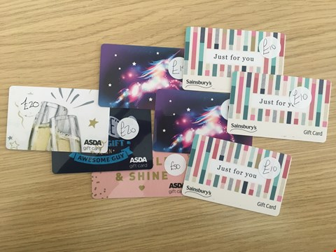 Lot 29 8 ASSORTED SUPERMARKET GIFT CARDS, INCLUDING ASDA AND SAINSBURY'S.  TOTAL VALUE £136