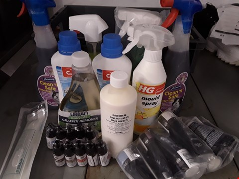 Lot 52 BOX OF APPROXIMATELY 14 ASSORTED ITEMS TO INCLUDE GRAFITTI REMOVER, LIQUID LATEX, CAUSTIC SODA ETC