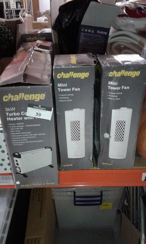 Lot 39 LOT OF APPROXIMATELY 3 ITEMS TO INCLUDE CHALLENGE 3KW TURBO CONVECTOR HEATER, 2X CHALLENGE MINI TOWER FANS